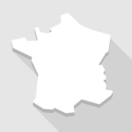 Illustration of a long shadow France map icon