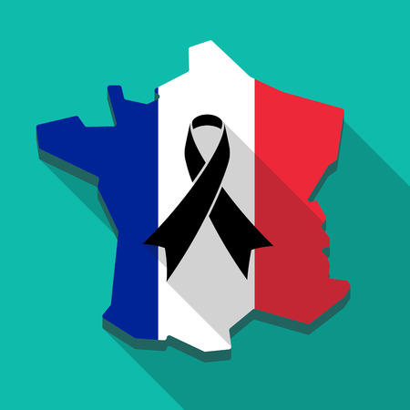 Long shadow France flag map icon with a black ribbon