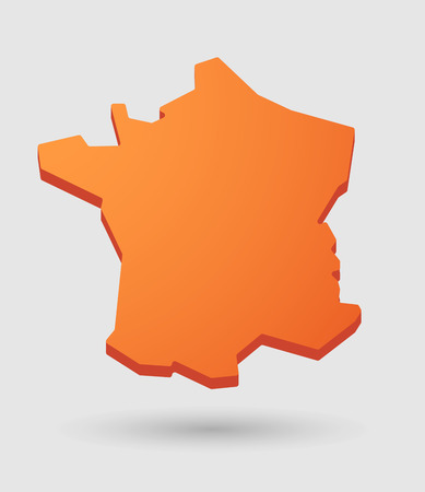 Illustration of an isolated orange France map icon