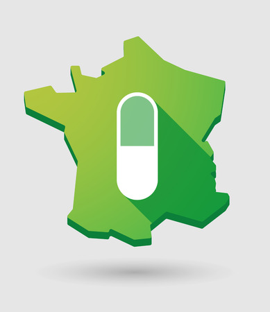 Illustration of a France green  map icon with a pill Vector