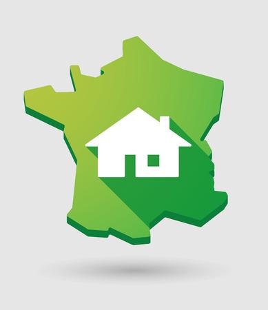investment real state: Ilustraci�n de un mapa icono verde Francia con una casa