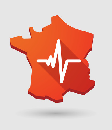 Long shadow France map icon with a heart beat sign Vector