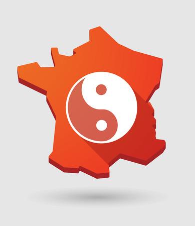 yinyang: Long shadow France map icon with a ying yang sign Illustration