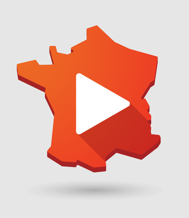 long play: Long shadow France map icon with a play sign