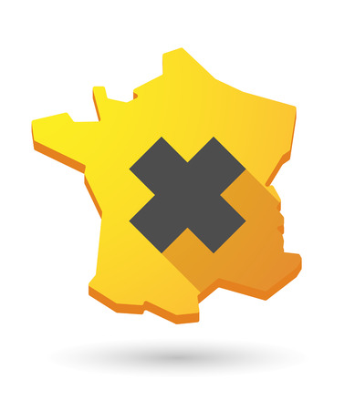 harmful to the environment: Illustration of a France map icon with an irritating substance sign