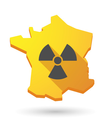 Illustration of a France map icon with a radioactivity sign Vector