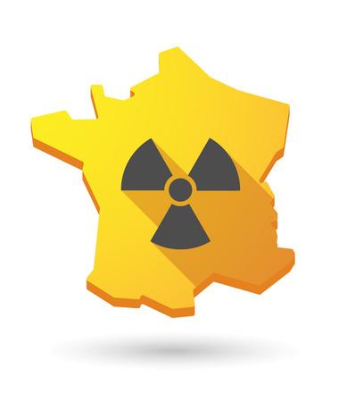 radiactividad: Ilustraci�n de un icono de mapa de Francia con un signo de la radiactividad
