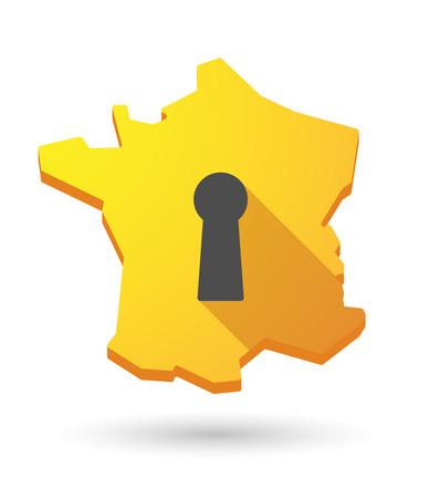 key hole: Illustration of a France map icon with a key hole