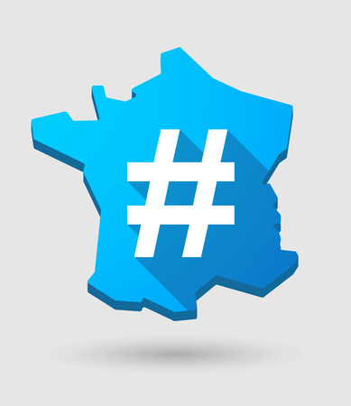 hash: Illustration of a France map icon with a hash tag
