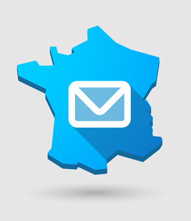 e  mail: Illustration of a France map icon with an e mail sign