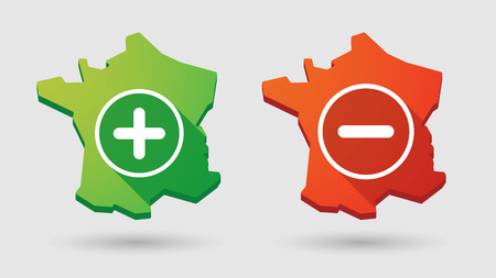 Illustration of a France map        math sign icon set Vector