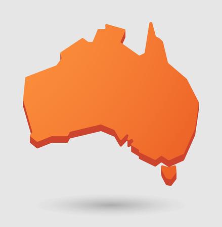 Illustration d'un cas isolé d'orange Australie icône de carte Banque d'images - 35353039