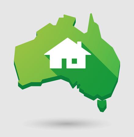 investment real state: Ilustraci�n de un mapa de Australia con una casa Vectores