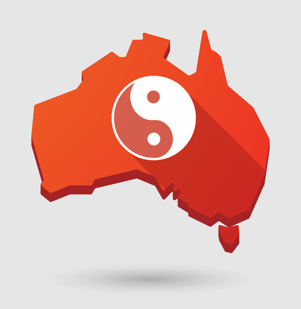 taoism: Illustration of an Australia map icon with a ying yang