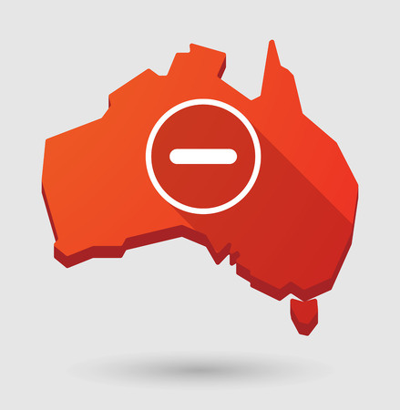 subtraction: Illustration of an Australia map icon with a subtraction sign