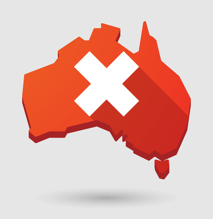 Illustration of an Australia map icon with a close sign