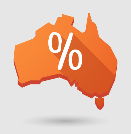 percentage sign: Illustration of an Australia map icon with a percentage sign Illustration