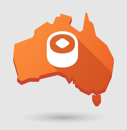 Illustration of an Australia map icon with a sushi piece Vector