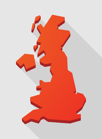 Illustration of a red  United Kingdom map Illustration