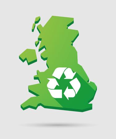 Isolé Royaume-Uni Plan icône avec un signe de recyclage Vecteurs