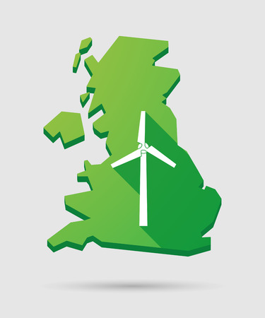 power generator: Isolated United Kingdom map icon with a wind power generator