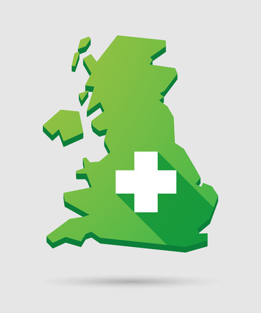 country store: Isolated United Kingdom map icon with a pharmacy sign