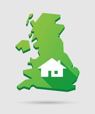 investment real state: Aislados mapa icono Reino Unido con una casa Vectores