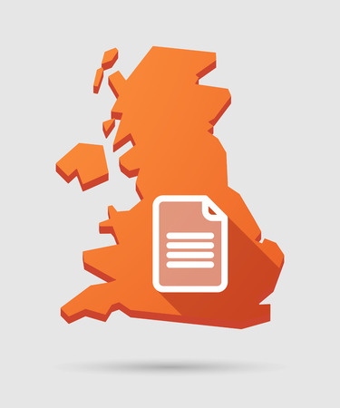 Isolated UK map icon with a document Vector