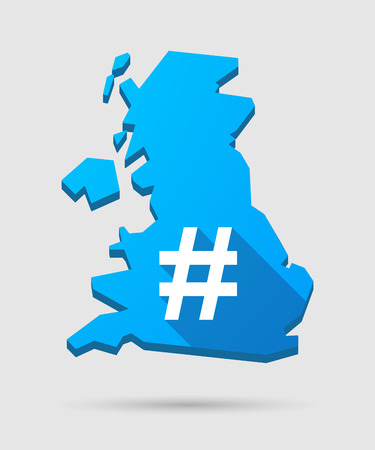hash: Isolated UK map icon with a hash tag