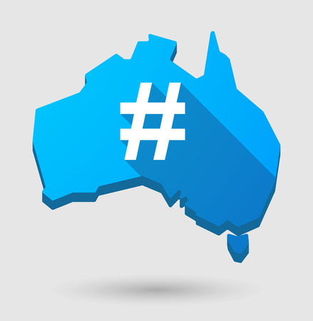 hash: Illustration of an Australia map icon with a hash tag Illustration