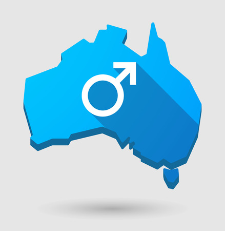 andropause: Illustration of an Australia map icon with a male sign