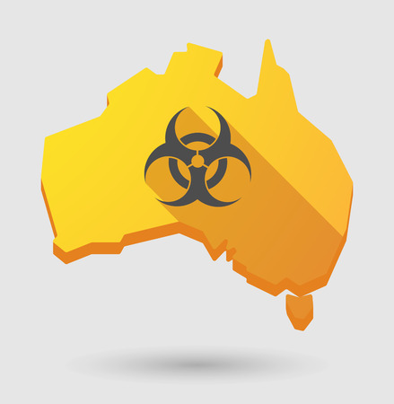 Illustration of an Australia map icon with a biohazard sign Vector