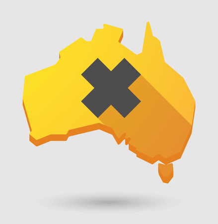 corrosive poison: Illustration of an Australia map icon with an irritating substance sign