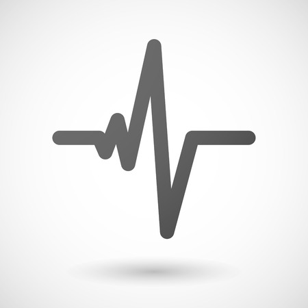 ecg heart: heart beat   icon with shadow on white background