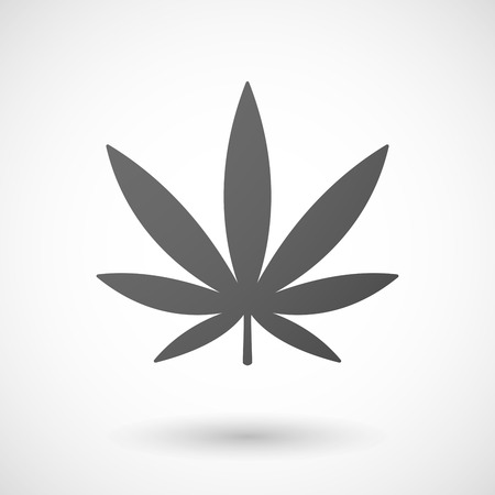 marijuana leaf   icon with shadow on white background