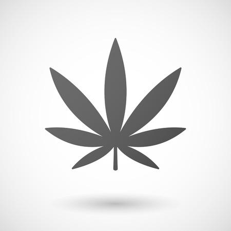 Marijuana icona foglia con ombra su sfondo bianco Archivio Fotografico - 35645280