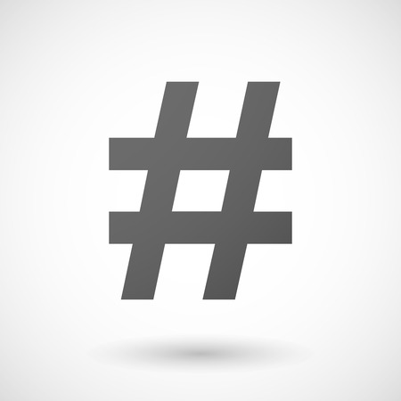hash: hash tag   icon with shadow on white background