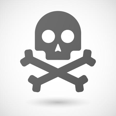 muerte: icono de cr�neo con sombra sobre fondo blanco