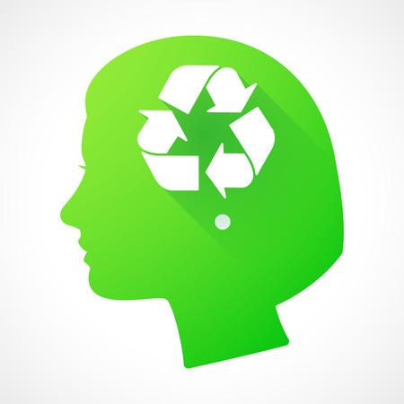 cabeza femenina: Ilustraci�n de una silueta de la cabeza femenina con una muestra del reciclaje