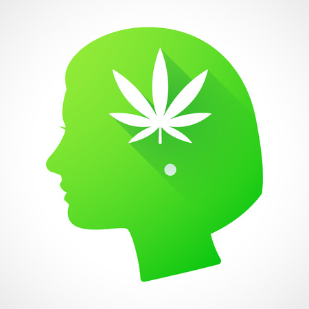 Illustration of a female head silhouette with a marijuana leaf Vector