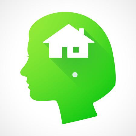 investment real state: Ilustraci�n de una silueta de la cabeza femenina con una casa