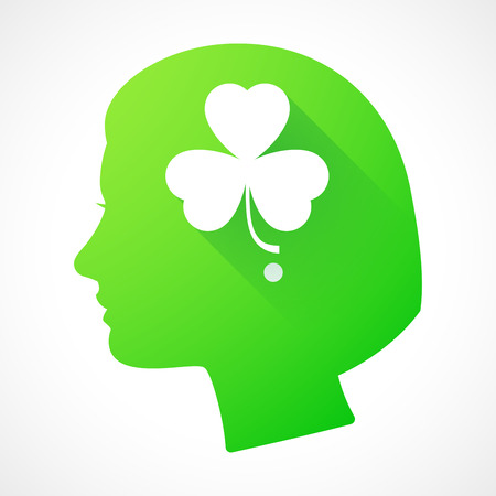 clover face: Illustration of a female head silhouette with a clover