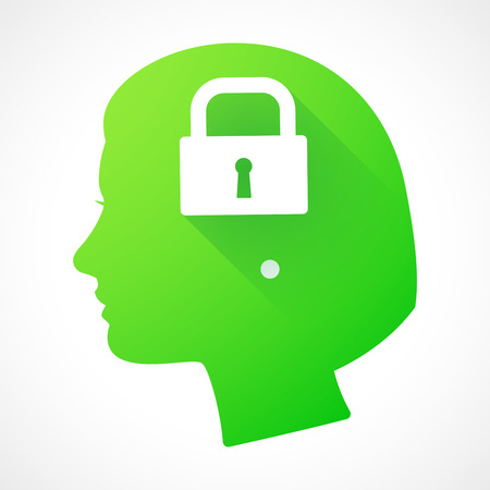 Illustration of a female head silhouette with a lock pad Illustration