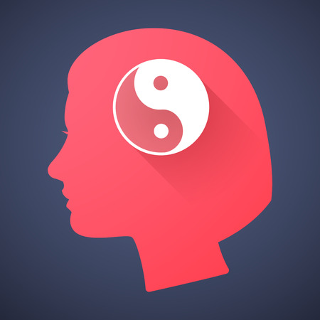 karma design: Illustration of a female head silhouette with a ying yang Illustration
