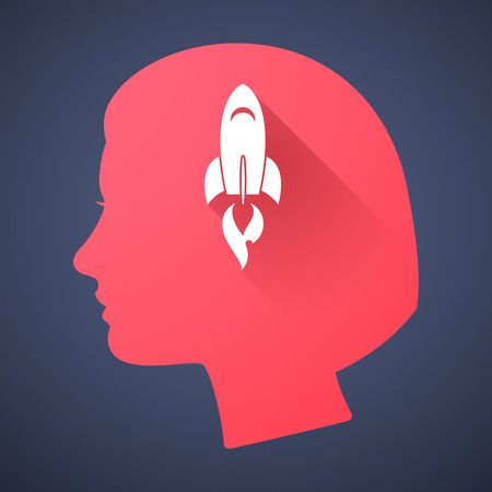 Illustration of a female head silhouette with a rocket Vector