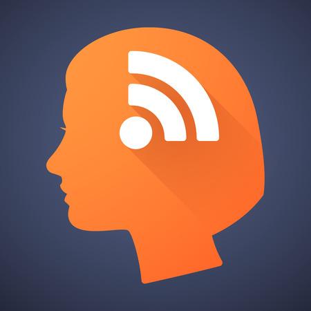 cabeza femenina: Ilustraci�n de una silueta de la cabeza femenina con un signo RSS Vectores