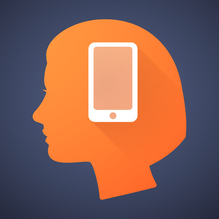 head phone: Illustration of a female head silhouette with a phone Illustration