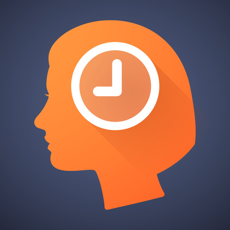 cabeza femenina: Ilustraci�n de una silueta de la cabeza femenina con un reloj Vectores