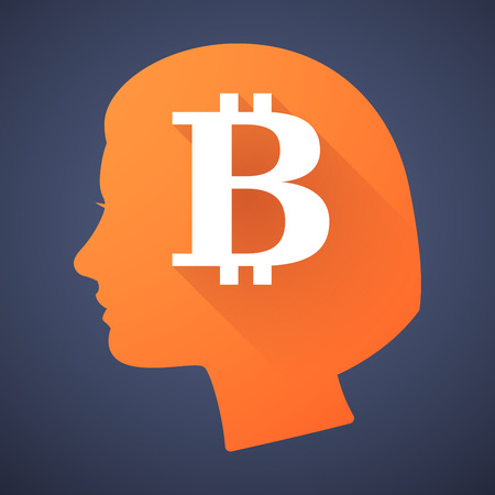 p2p: Illustration of a female head silhouette with a bitcoin sign