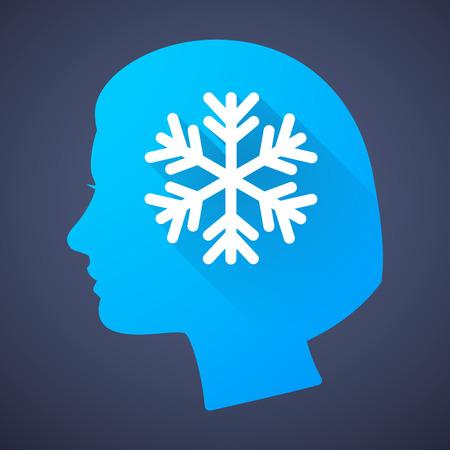cabeza femenina: Ilustraci�n de una silueta de la cabeza femenina con un copo de nieve